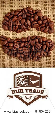 Fair Trade graphic against coffee beans formed into shape