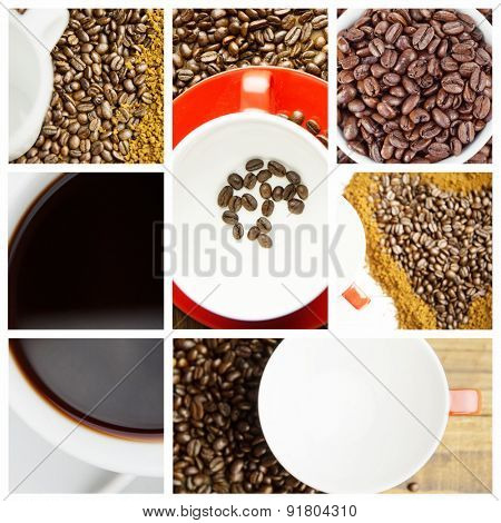 Coffee against coffee beans in cup