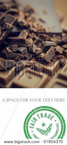 Fair Trade graphic against chocolate