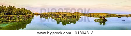 Panoramic view of Lake Myvatn in Northern Iceland