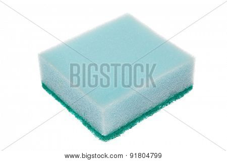 Single cleaning sponge isolated on white background.