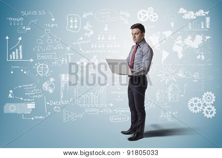 creative business man standing against business concept background