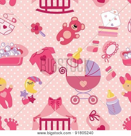 Newborn Baby girl seamless pattern.Polka dot