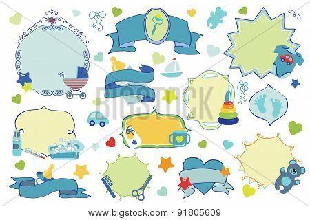 Newborn Baby boy badges,labels set. Baby shower