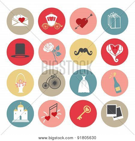 Cute Flat wedding icons set for web and mobile