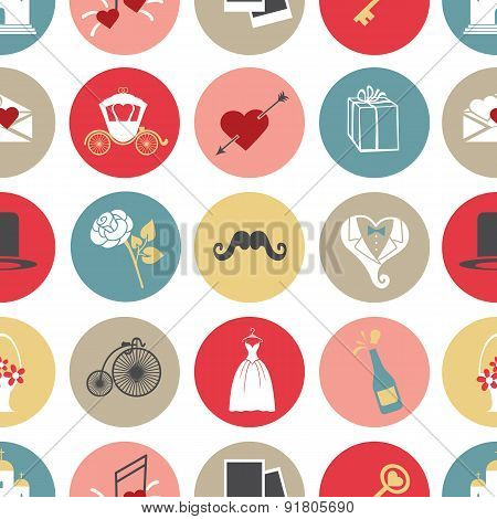 Cute flat wedding icons in modern seamless pattern