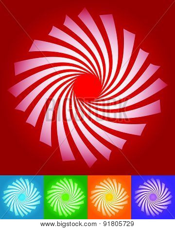 Abstract Twisting, Rotating Vector Elements In 5 Colors.