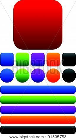 Squares, Circles And Oblong Buttons Or Banners With Empty Space. Vector Graphics.