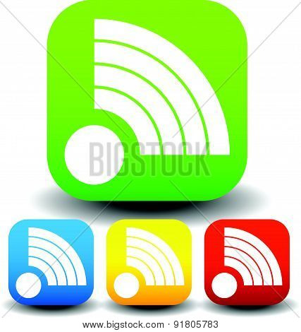 Icon With Signal Shapes In Various Colors.