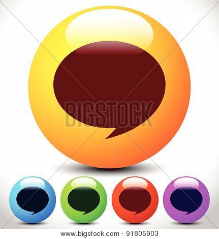 Set of Colorful Speech Bubbles Vector Icon. Editable Graphics.