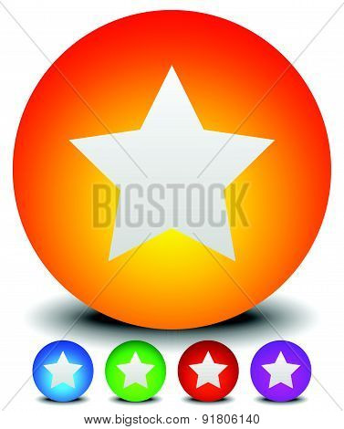 Trendy, Colorful Star Icon In 5 Colors: Orange, Blue, Green And Purple.