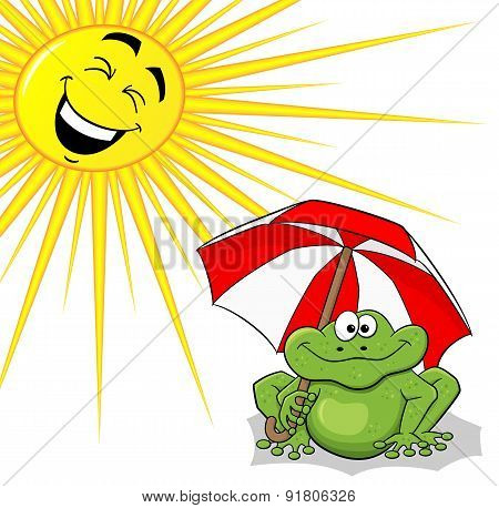 Cartoon Frog With Sunshade And Sun