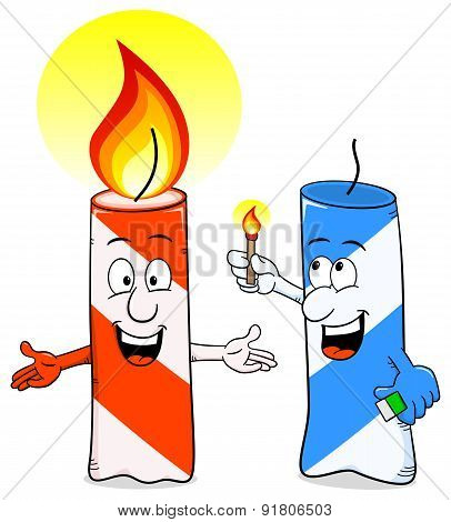 Cartoon Of A Birthday Candle That Ignites Another Candle