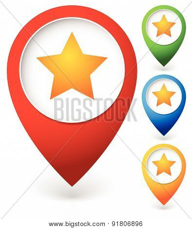 Map Marker With Star. Favorite Place, Location. Vector Icon.