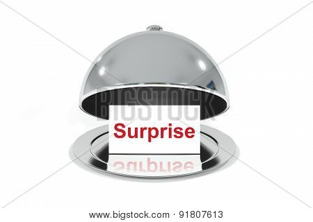 Opened Silver Cloche With White Sign Surprise