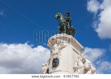King Jose Statue At Commerce Square - Praca Do Commercio In Lisbon - Portugal
