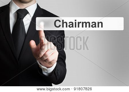 Businessman Pushing Flat Button Chairman