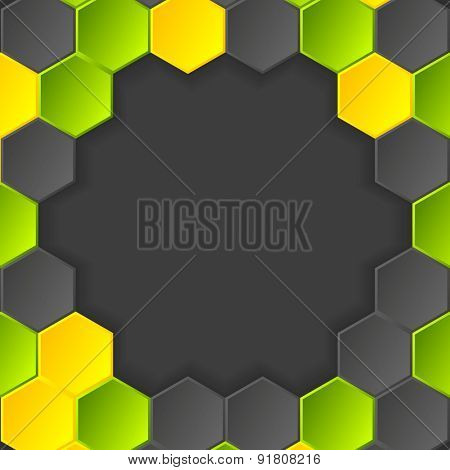 Abstract hi-tech dark background with hexagons. Vector design