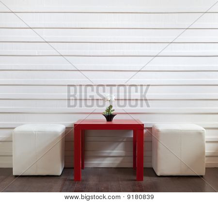 Red Table And White Stools