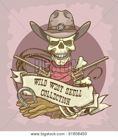 Wild West Skull label