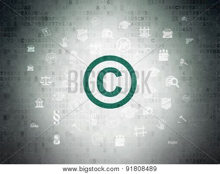 Copyright Symbol on Digital Paper background