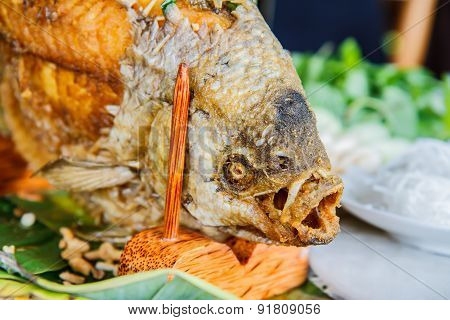 Fried Fish Prepared In The Traditional Vietnamese
