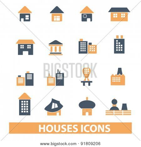 houses, buildings icons, signs, illustrations set, vector