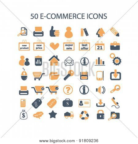 50 e-commerce, retail icons, signs, illustrations set, vector