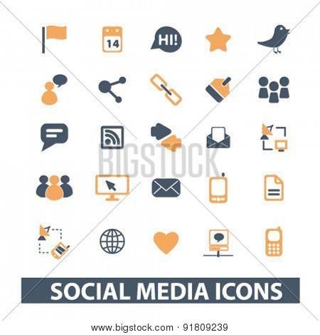 social media, network icons, signs, illustrations set, vector