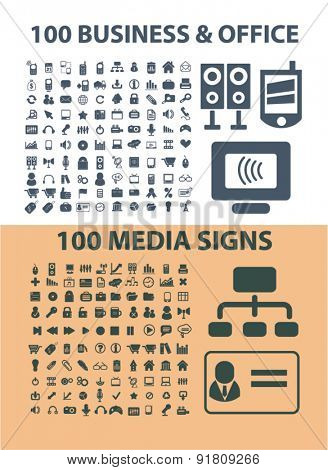 200 business, office, media, communication icons, signs, illustrations set, vector