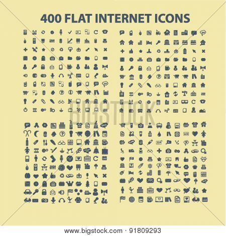400 flat business, office, media, music, application icons, signs, illustrations set, vector
