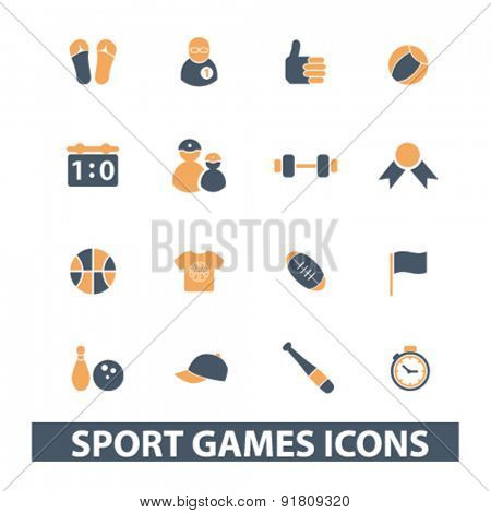 sport games icons, signs, illustrations set, vector