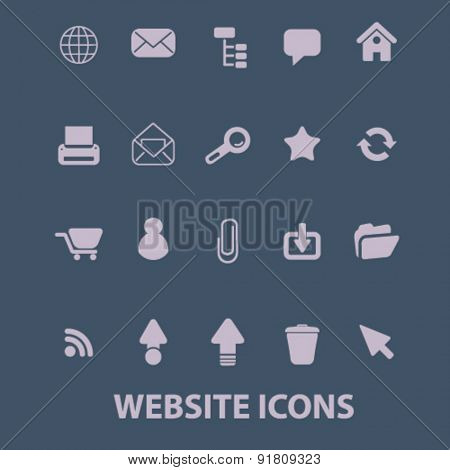 website icons, signs, illustrations set, vector