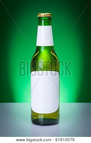 Green Beer Bottle With Blank Labels
