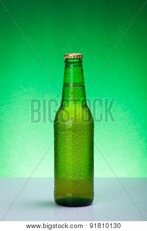 Wet Green Blank Beer Bottle