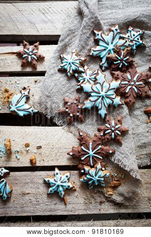 Christmas cookies with brown and blue frosting