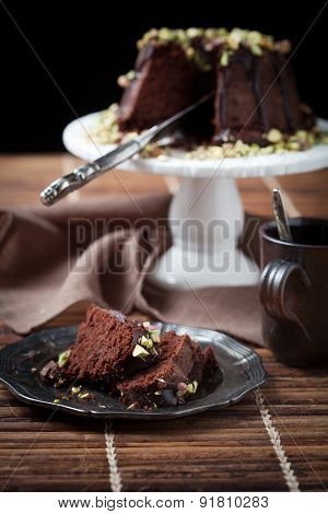Chocolate bundt cake with pistachios