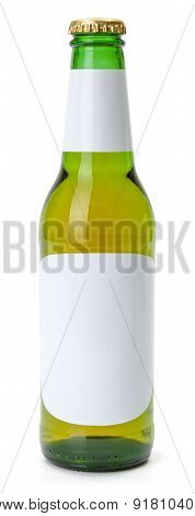 Green Beer Bottle With White Blank Labels