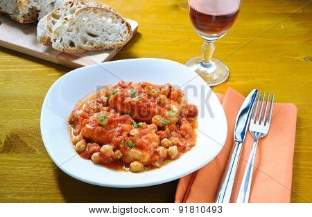 Salt cod with chickpeas and tomatoes Roman
