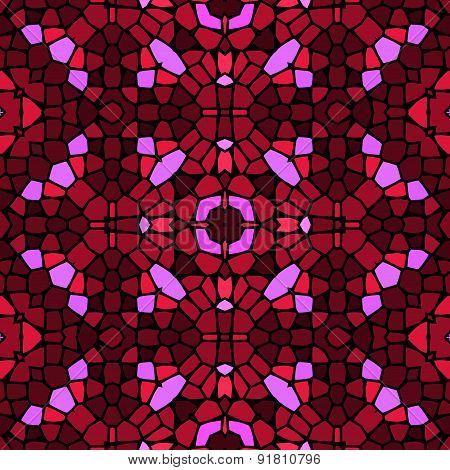 Seamless Kaleidoscopic Mosaic Red Tile Pattern