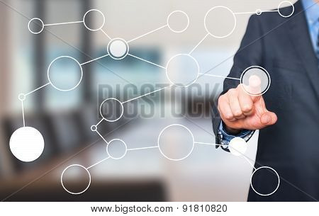 businessman hand drawing blank flow chart o