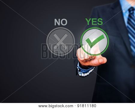 Hand of businessman press Yes button.
