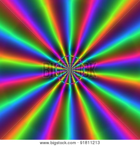 Colorful Rainbow Rays Or Discharge In Circular Pattern
