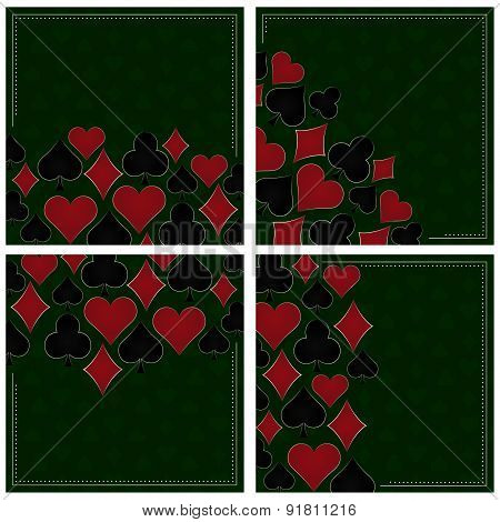 Set of poker vector background with card symbols