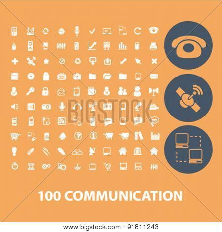 100 white flat communication icons, signs, illustrations set, vector