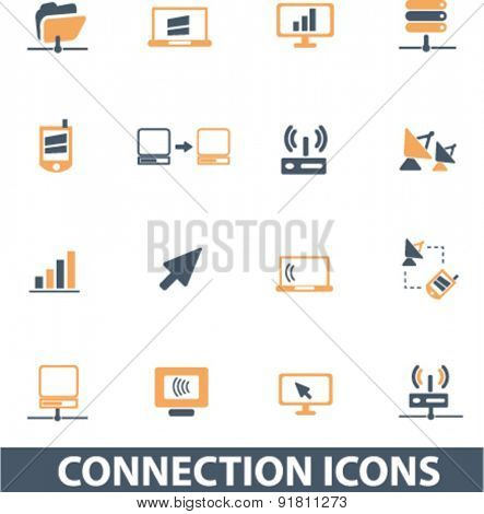 connection icons, signs, illustrations set, vector