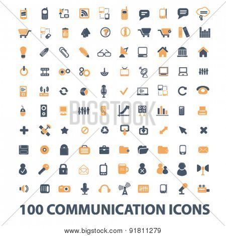 100 communication icons, signs, illustrations set, vector