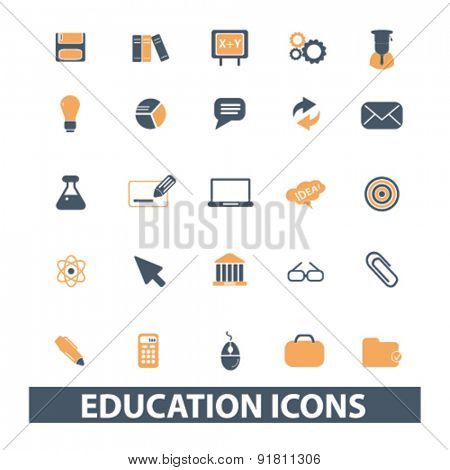 education icons, signs, illustrations set, vector