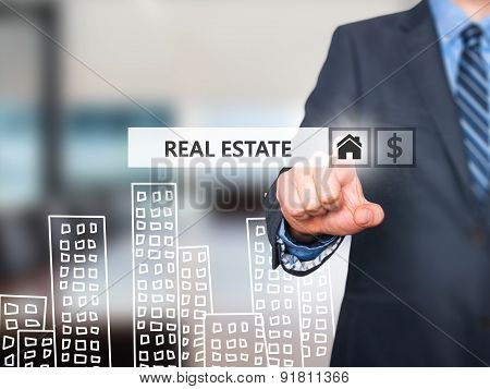 businessman pressing real estate button on virtual screens.