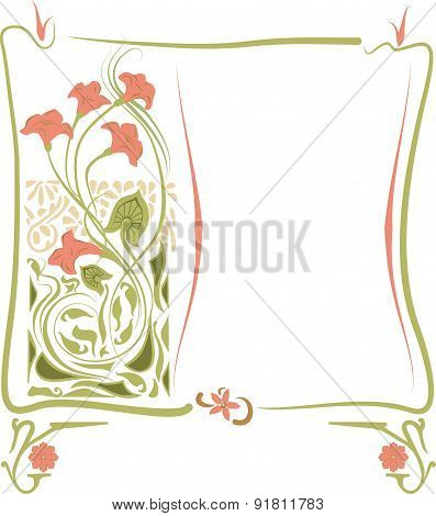 Vector illustration of a frame in the art Nouveau style with floral ornament